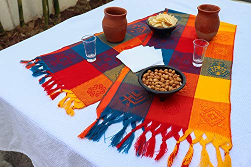 (Mexican Table Runner – Bohemian Table Runner – Boho Rainbow Aztec Runners – Serape Colourful Striped Cotton Runner for Mexican Fiesta Decorations and for Wedding Décor Orange Blue Yellow)