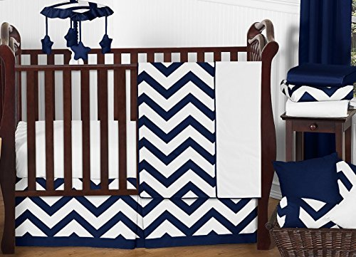 Sweet Jojo Designs 11-Piece Navy Blue and White Chevron ZigZag Unisex Baby Bedding Zig Zag Boy or Girl Crib Set Collection Without Bumper [並行輸入品]   B07JVDLXHQ