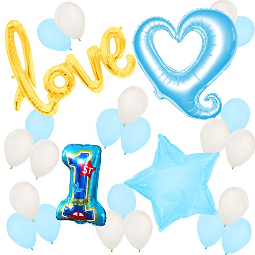[First Birthday Balloons and Decorations - 1st Birthday – Baby Boy Birthday Party] (Infant Red Minnie My First Disney Costumes)