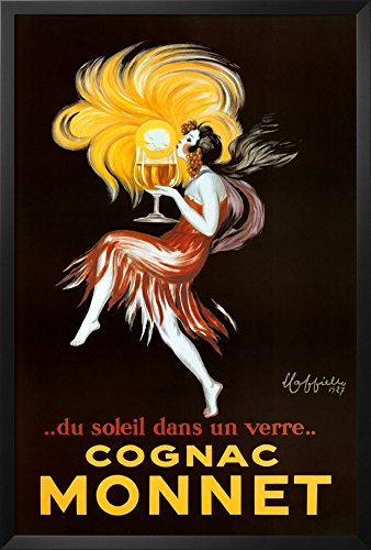 Cappiello Framed Art (Professionally Framed Leonetto Cappiello Cognac Monnet Vintage Ad Art Print Poster - 24x36 with RichAndFramous Black Wood)
