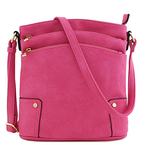 - Triple Zip Pocket Large Crossbody Bag (Fuchsia)