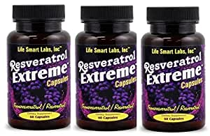 Resveratrol Extreme Complex 1000 MG -3 Bottles = 180 capsules, 90 Day Supply , 30 days per bottle (3 Pack)