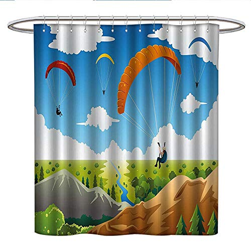 Mountain Laurel Nursery - Anshesix CartoonUnique Shower curtainParachute Landscape Mountain River Clouds Palm Trees Kids Nursery Image Landscapecute Shower curtainMulticolor