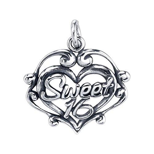 Sterling Silver Sweet 16 Filigree Heart Charm Pendant (18 x 19 mm) (Silver Charm 16 Sweet Sterling)