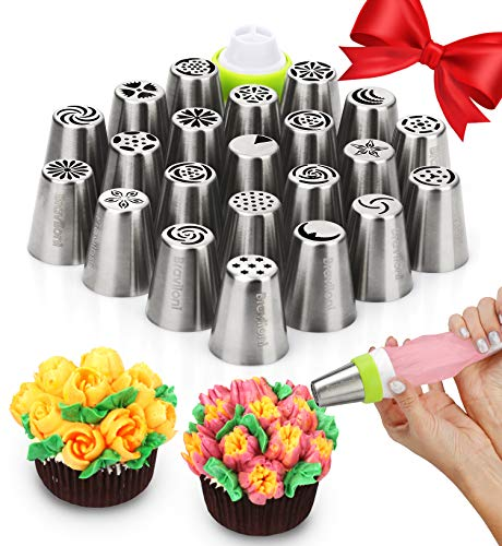 Russian Piping Tips - Cake Decorating Supplies - 39 Baking Supplies Set - 23 Icing Nozzles - 15 Pastry Disposable Bags & Coupler - Extra Large Decoration Kit - Best Kitchen Gift]()