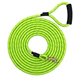 Shorven Nylon Strong Dog Rope Lead Reflective Training Dog Leash with Soft Handle 8-20 FT Long Green (Dia:0.5' 15FT)