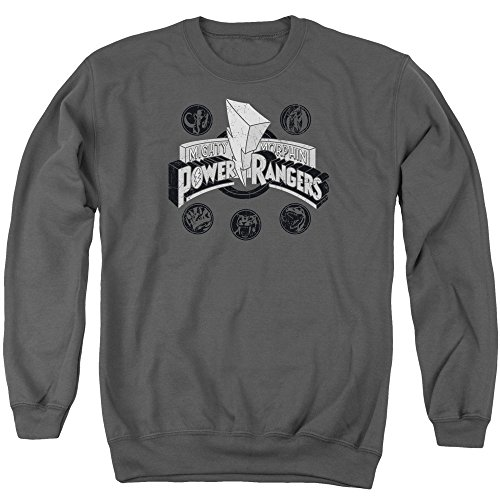 Mighty Morphin Power Rangers TV Series Power Coins And Logo Crewneck Sweatshirt (Mighty Morphin Power Rangers Logo)
