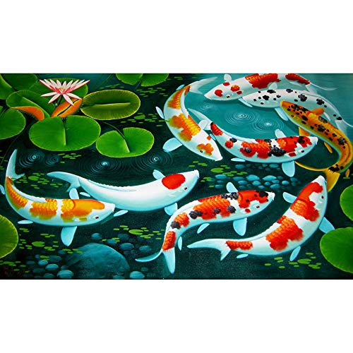 DIY 5D Diamond Painting by Number Kit for Adult,Full Drill Diamond Painting Koi Fish,Embroidery Cross Stitch Arts Craft Home Wall Decoration,31.5×15.7in
