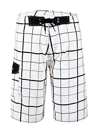 Unitop Men's Beachwear Bathing Shorts Summer Holiday Plaid Pattern with Lining White-39 -