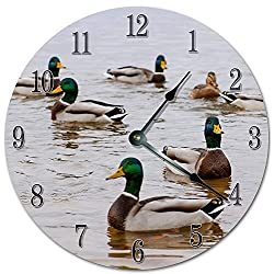 PotteLove 12 Vintage Floating Ducks On River Surface Clock Wooden Decorative Round Wall Clock
