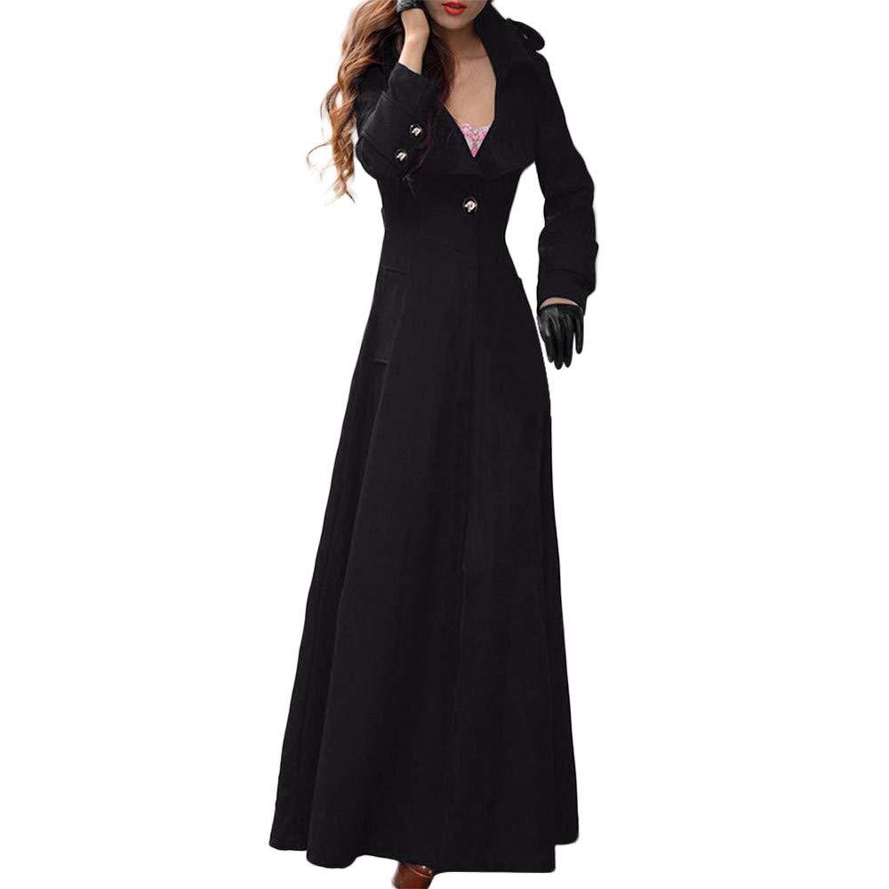 NREALY Jacket Women's Winter Lapel Slim Coat Trench Jacket Long Parka Overcoat Outwear