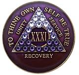 AA Medallion Year 1 - 45 Purple Tri-Plate Swarovski Crystal Transition Chip