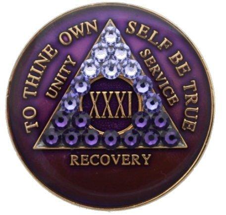 AA Medallion Year 1-45 Purple Tri-Plate Swarovski Crystal Transition Chip ()