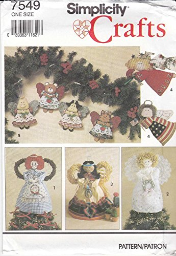 Angel Tree Topper Craft - Simplicity Crafts Pattern 7549 ~ Angel Tree Topper or Standing Decoration and Ornaments in Two Sizes