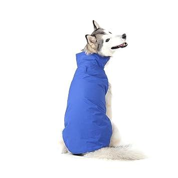 Bwiv Abrigos para Perros de Invierno Chaqueta Impermeable Forrado de Polar con Apertura para Correa Azul