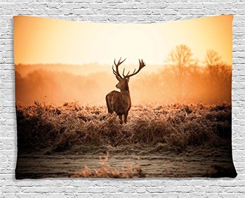 Ambesonne Hunting Decor Tapestry, Red Deer in the Morning, used for sale  Delivered anywhere in USA