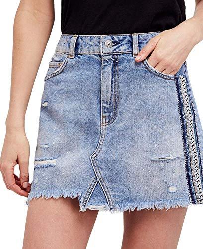 Free People Women's Embellished Denim A-Line Skirt