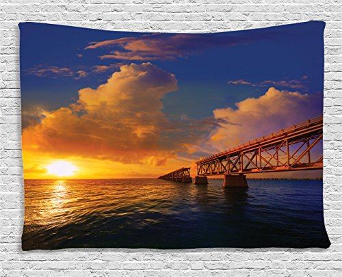 Ambesonne Cityscape Tapestry Apartment Decor, Florida Keys Old Bridge Sunset at Bahia Honda Park in USA Cloudscape Picture, Bedroom Living Room Dorm Wall Hanging Tapestry, 80 X 60 Inch, Orange Blue