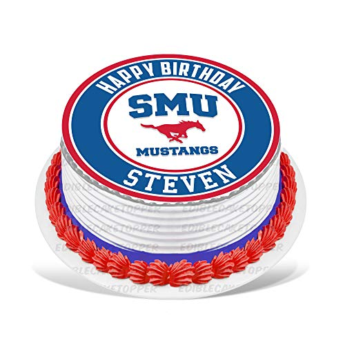 SMU Mustangs Edible Cake Topper Personalized Birthday 8