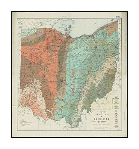 Baltimore Md Map (1909 Map Ohio A geological of Ohio Geologic formations shown by colors & symbols.