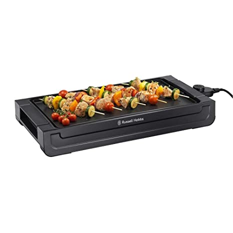Russell Hobbs Fiesta - Plancha de Cocina Eléctrica (2400 W, Apta Lavavajillas, Bandeja Goteo, Negro) - ref. 22550-56