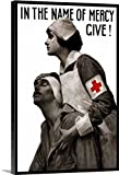 John Parrot Premium Thick-Wrap Canvas Wall Art Print entitled Vintage World War I poster of a Red Cross nurse holding a wounded man