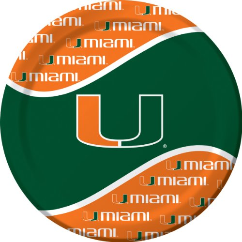 8-Count Round Paper Dinner Plates, Miami Hurricanes