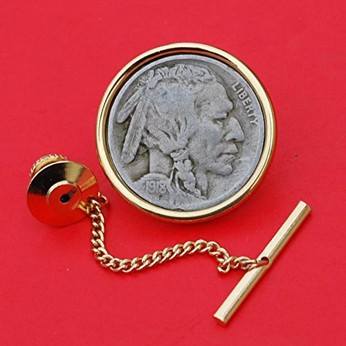 US 1918 Indian Head Buffalo Nickel Gold Plated Tie Tac Tack BRAND NEW
