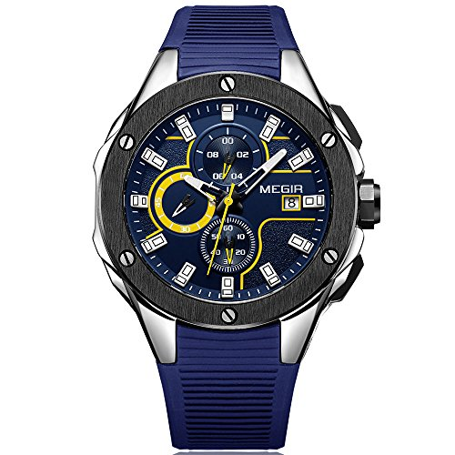 MEGIR Mens Sports Quartz Watches Luminous Waterproof Army Silicone Chronograph Stop Wristwatch for Man