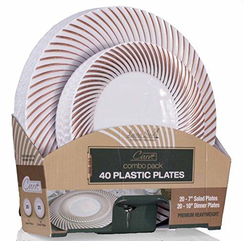 Laura Stein Designer Tableware Curve Series Hot Stamp Combo Plasti Disposable Plates Sets (40 Piece Set (20 Sets), White & Rose ()