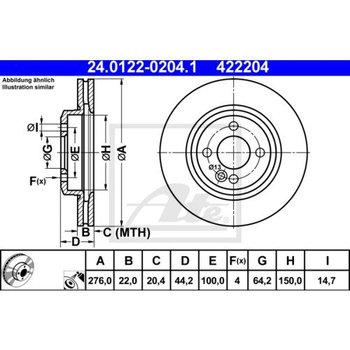 BREMSBEL/ÄGE SET VORNE MINI COOPER S ONE R50 R53 2x ATE BREMSSCHEIBEN /Ø276 mm