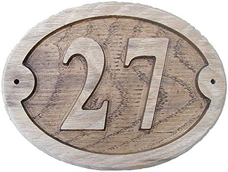 175/x 150/mm Nr 1/Eine runde von fastcraft UK Nummer 1/Oval nat/ürlichen Eiche Holz House T/ür Zahl 17,8/x 15,2/cm stark gepr/ägt Gravur Nat/ürliche Holz Oberfl/äche Schild Haus Erw/ärmung Geschenk