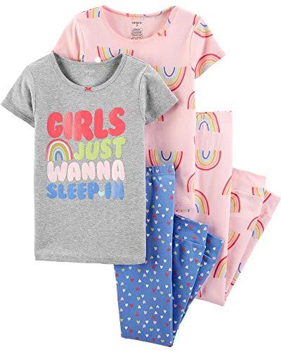 Carter's Girls' 4-Piece Snug Fit Cotton Pajamas (12 Months, Pink Multi)