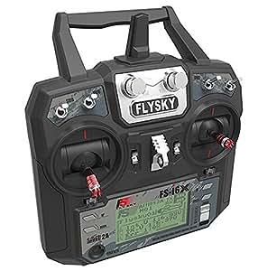 MODELTRONIC Emisora Radio Control 10 Canales AFHDS Fly Sky FS-I6X y Receptor X6B i-Bus a 2.4 GHz transmisor/Ideal para Drones de Carreras/Emisora Radio Control Aviones