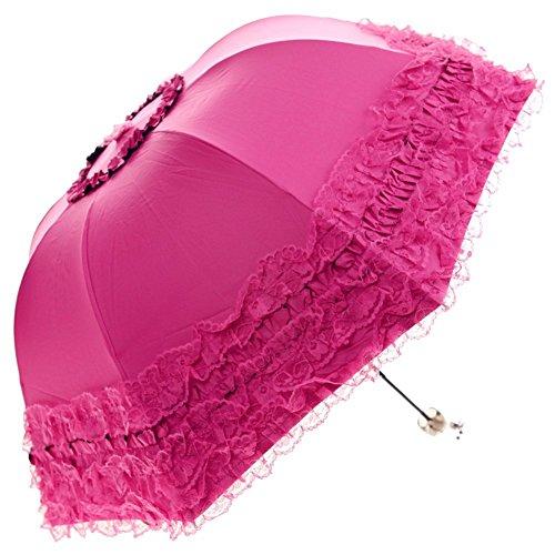 (Apiidoo 3 Folding Ruffled Lace Parasols Windproof Sunproof UV Sun Rain Umbrellas Fuchsia)