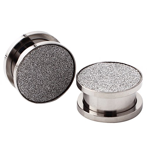 Stainless Steel Hollow Tunnel Silver Sparkles Ear Expander Ear Plugs