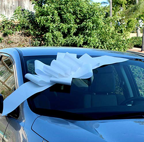 """Big White Car Bow Ribbon - 25"""" Wide, Large Gift Decoration, Fully Assembled, Christmas, Wedding, Birthday, Anniversary, Sweet 16, School Dance, Prom"""