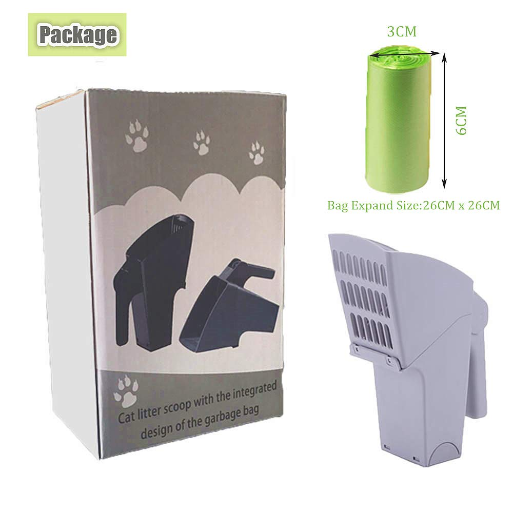 VSTYLE Cat Litter Scoop, Bring Own Trash Can Integrated Kitty Litter Scoops with Waste Bag Cat Litter Shovel Feces Eliminator Poop Scooper for Pet Dog Cats