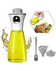 Oil Sprayer for Cooking - 180ml Food Grade Olive Oil Dispenser, Reusable Vinegar Vegetable Oil Glass Spray Bottle BPA Free, Portable Kitchen Gadgets for Air Fryer, Baking, Roasting, Grilling, BBQ, Salad