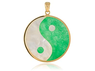 Amazon green jade and mother of pearl large yin yang pendant green jade and mother of pearl large yin yang pendant 14k gold mozeypictures Image collections