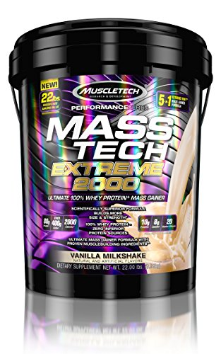 MuscleTech Mass Tech Extreme Vanilla Milkshake Weight Gainer, 22 Pound