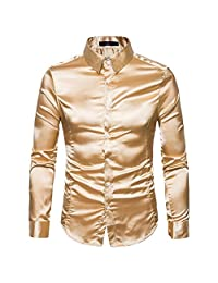 Singleluci Men's Casual Slim Long-Sleeved Shirt Top Blouse
