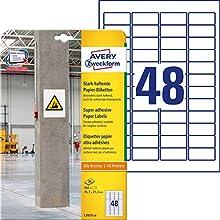 Avery L7873-20 Rectángulo Permanente Blanco 960pieza(s) - Etiqueta autoadhesiva (Blanco, Rectángulo, Permanente, 45.7 x 21.2 mm, DIN A4, Papel)