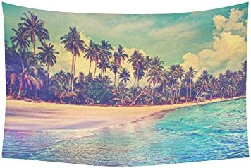 INTERESTPRINT Tropical Palm Trees Decor Collection for Home, Ocean Artwork in Paradise Nature Tapestry Wall Hanging Art Sets 60 X 40 Inches