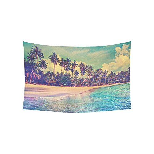 Paradise Sunset Tapestry - InterestPrint Tropical Palm Trees Decor Collection for Home, Ocean Artwork in Paradise nature Tapestry Wall Hanging Art Sets 60 X 40 Inches