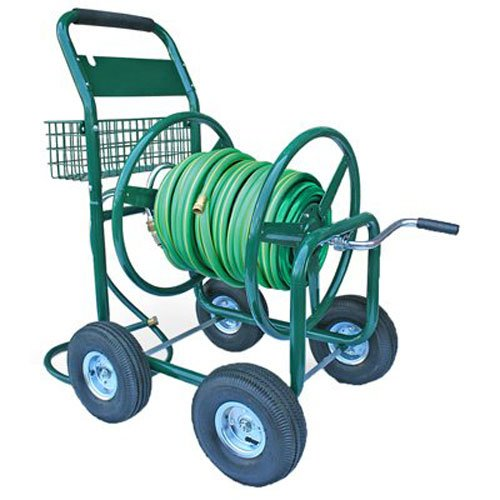 Liberty-Garden-Products-872-2-Residential-4-Wheel-Steel-Garden-Hose-Reel-Cart-Holds-350-Feet-of-58-Inch-Hose-Green