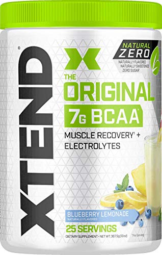 Scivation Xtend Natural Zero BCAA Powder, Branched Chain Amino Acids, BCAAs, No Artificial Colors, Flavors, or Sweeteners, Blueberry Lemonade, 25 Servings (Xtend Bcaa Best Flavor)