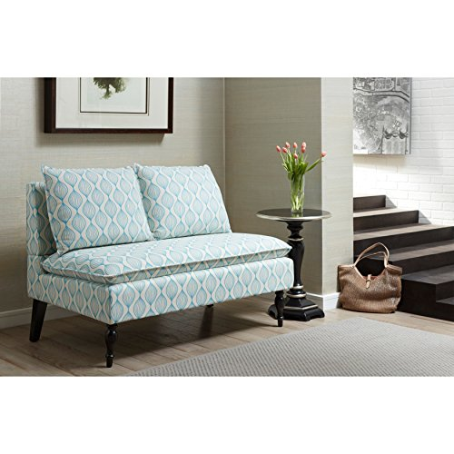 Sofaweb.com Blue/ Cream Upholstered Banquette Bench (Banquette Furniture Bench)
