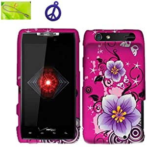 Motorola Droid Razr XT912 Purple Hibiscus Flowers on Pink Design (B-HBF), Rubberized Coated Surface Impact Defender Hard Plastic Case Skin Cover Faceplate + Peace Charm and Strap Combo
