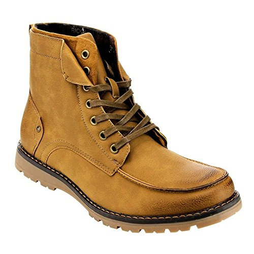 Arider Men's AC79 High-Top 7-Eyelet Lace Up Flat Heel Work Sneaker Boots Camel 9.5